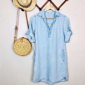 Anthro Cloth & Stone Chambray Polka Dot Dress
